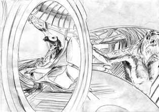 Scène #1 : intérieur d'un vaisseau sshaad à travers les hublots